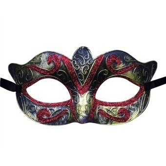 Unisex Vintage Venice Halloween Costume Masquerade Masks Half Facemask(Bronze And Red) - intl