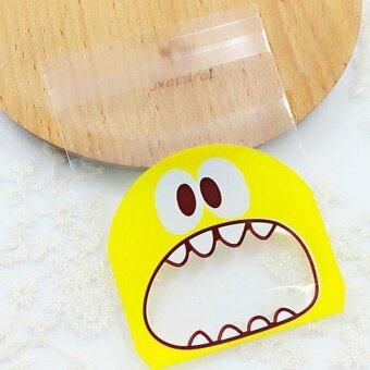 VORSTEK 100PCS Little Monster CandyCookie Self-adhesivePlastic Bag For Biscuits Snack Baking Package Supplies – Yellow -intl