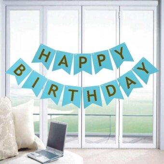 VORSTEK Baby Child Shiny Gold Paper Birthday HAPPY Birthday LetterBanner Blue - intl