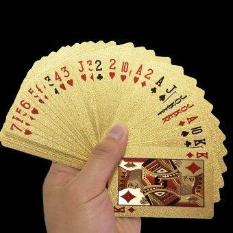Whyus-Durable Waterproof 24K Gold Foil Poker 54 Playing Cards ForCasino Table Game Euro - intl