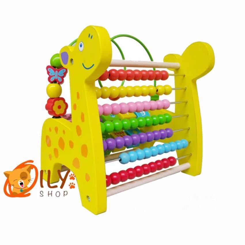 Wood Toy ของเล่นไม้ ยีราฟไม้รางลูกคิดจำนวน10หลัก พร้อมสอนนับเลข1-10