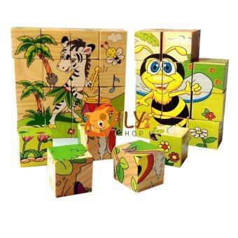 Wood Toy ของเล่นไม้ เเพ็คคู่ กระดานเสริมทักษะ 2 in 1 Children Learn Flap + บล็อกไม้ลูกเต๋า ต่อได้ 6 ด้าน (image 3)