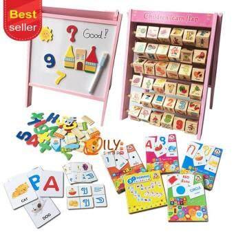 Wood Toy เเพ็คคู่ กระดานเสริมทักษะ 2 in 1 Children Learn Flap +Flash Cards ชุดบัตรคำการเรียนรู้และเสริมทักษะคุ้ม รวม 5 ชุด