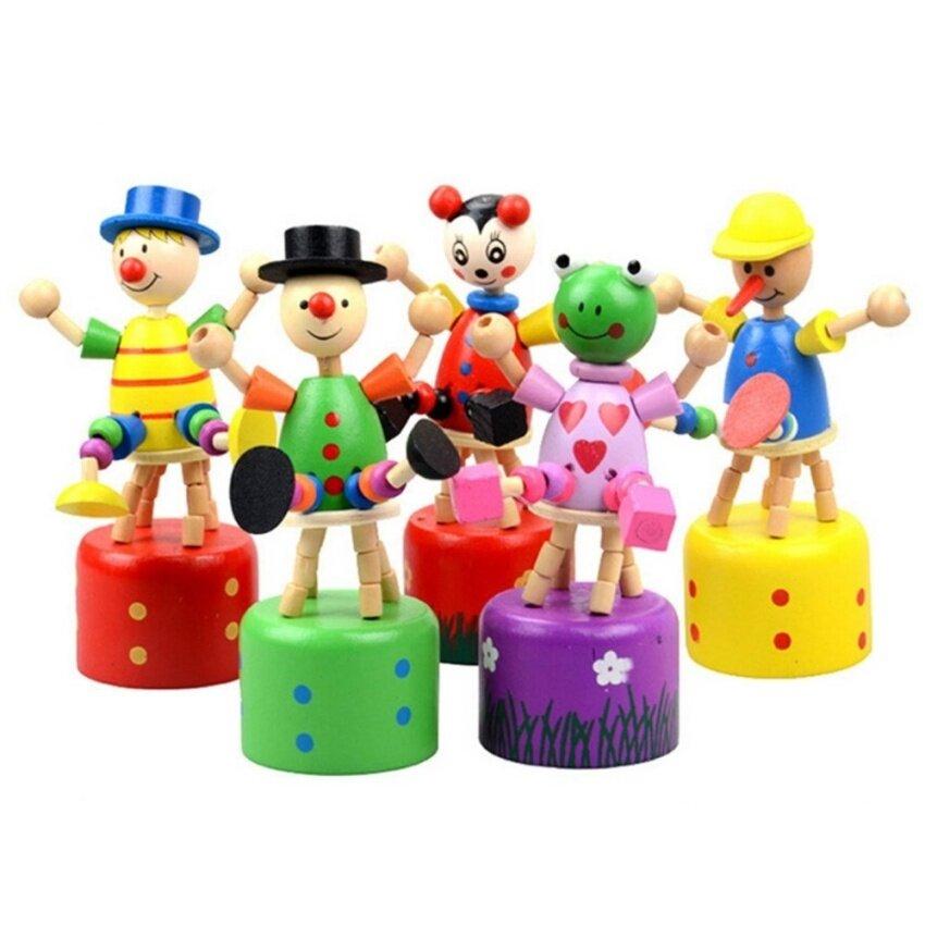 Wooden Clown Puppet Finger Toy Lovely Educational Kids Toy Clown Barrel - intl