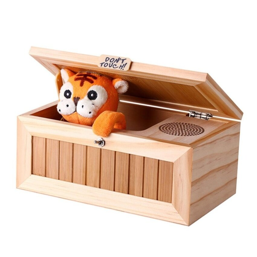 Wooden Useless Box Leave Me Alone Box Most Useless Machine Don't Touch Tiger Toy Gift With Sound - intl