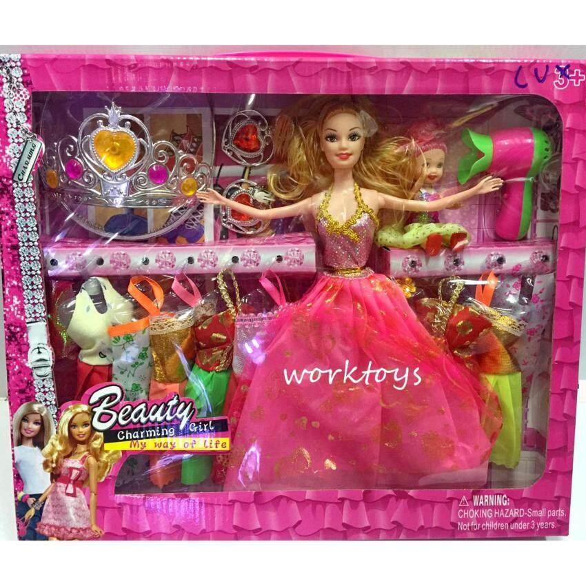 Worktoys ตุ๊กตาเจ้าหญิง ตุ๊กตาแต่งตัว บาบี้ แม่ ลูก พร้อมมงกุด ต่างหู ไดร์เป่าผม และชุดเสื้อผ้าเปลี่ยน 10 ชุดสุดคุ้ม (คละสี)
