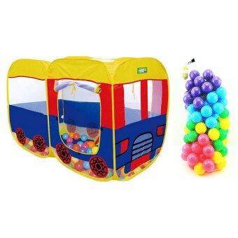 Worktoys บ้านบอล เต้นท์รถบัส พร้อมลูกบอลคละสี 100 ลูก