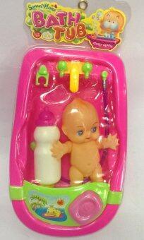 Worktoys ของเล่นเด็ก ชุดตุ๊กตาอาบน้ำ อ่างจำลองอาบน้ำเด็ก เล็ก(สีชมพู)