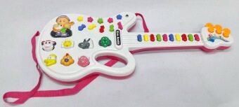 Worktoys กีต้าร์ พร้อมไมโครโฟน ของเล่นเด็กเล็ก ของเล่นทำนองเพลง เสียงสัตว์ (สีชมพู) (image 1)