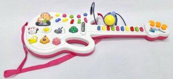 Worktoys กีต้าร์ พร้อมไมโครโฟน ของเล่นเด็กเล็ก ของเล่นทำนองเพลง เสียงสัตว์ (สีชมพู) (image 0)