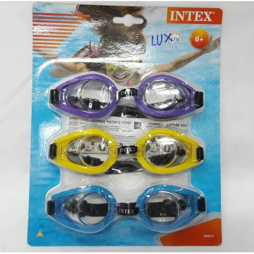 Worktoys แว่นตาดำน้ำ แว่นตาว่ายน้ำสำหรับเด็ก INTEX 3 ชิ้น