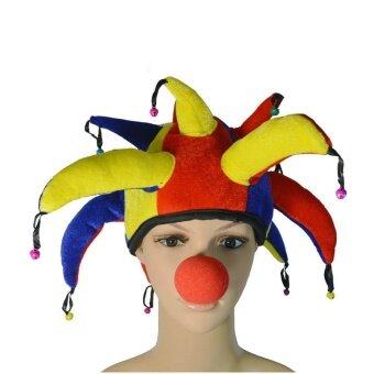 Wuwazhengfu หมวกตัวตลกผ้าโพกศีรษะหมวกตัวตลกจมูกตัวตลก