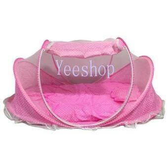 Yeeshop ที่นอนเด็กแบบพกพาพร้อมมุ้งครอบ พร้อมหมอนและฟูก (ชมพู) - 2