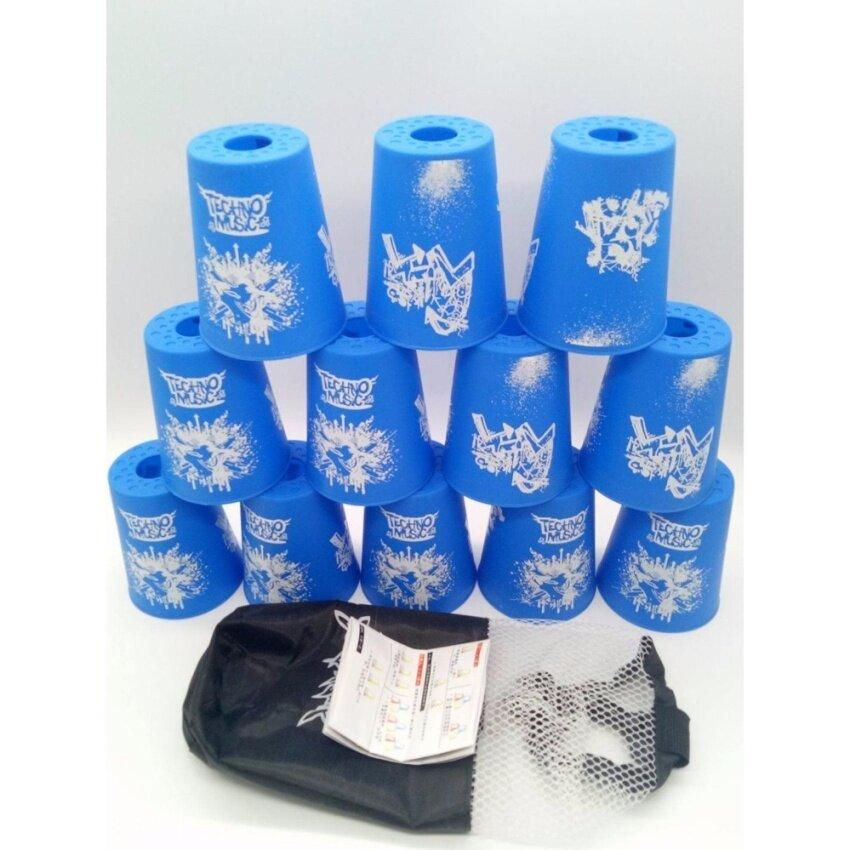 ขาย แก้วสแต็ค YJ Speed Stack Cups Set 12 Pcs Family Sport Game Stacking Rapid FastYJ(Blue techno)