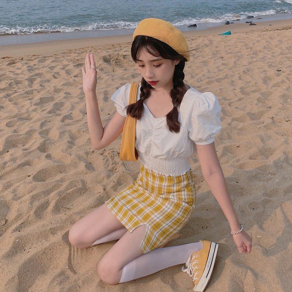 URgaga กระโปรงทรงเอสก็อต ทรงยอดฮิตของสาวๆ หลากหลายสี สไตล์เกาหลี สำหรับผู้หญิง พร้อมส่ง ✅893( สก็อตสี)