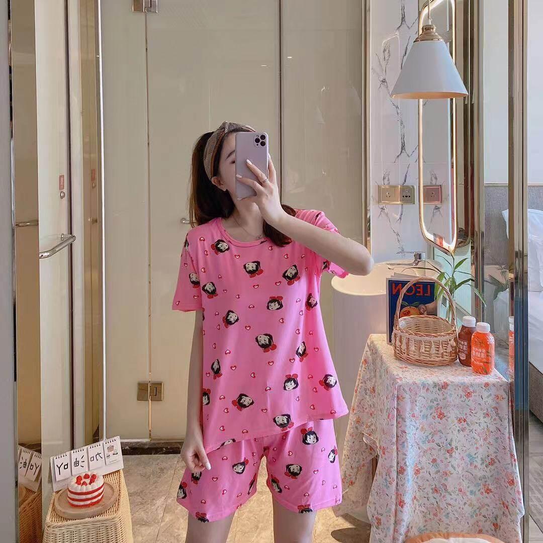 2021 ชุดนอนการ์ตูนน่ารักเกาหลีของผู้หญิงฤดูร้อนสั้นหลวมนักเรียนใหม่แขนสั้นชุดนอน / ใส่อยู่บ้านHome service pajamas set
