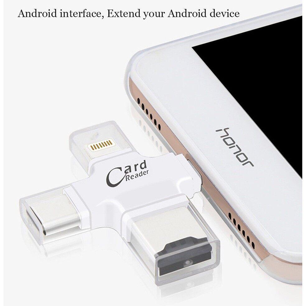 การ์ดรีดเดอร์ 4 in 1 Micro USB Type C 8 Pin TF Card OTG สำหรับ iOS Android Ipad/iphone 7plus/6s/5s