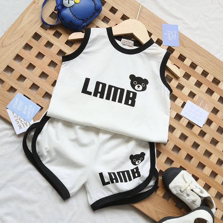 ชุดเสื้อกั๊กเด็กฤดูร้อนสำหรับเด็ก เด็กชายและเด็กสไตล์ตะวันตกสองชิ้นเด็กหล่อแขนกุดเสื้อผ้าบางๆ