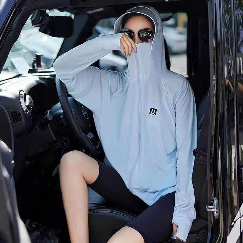 เสื้อกันแดด UV UPF 50+ พร้อมส่ง แขนยาว มีฮู้ด สไตล์เกาหลี กันรังสี ยูวี 97% ผ้านุ่ม ระบายอากาศดี เสื้อกันแดดผญ ผ้าไหมน้ำแข็ง FREESIZE