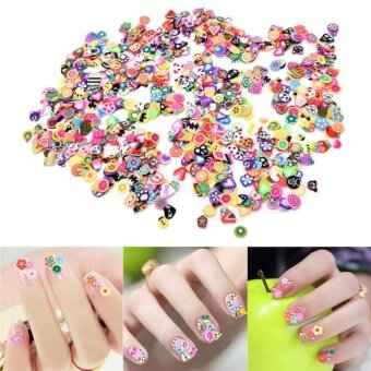 1000pcs 3D Fruit Animals Fimo Slice Clay DIY Nail Art Tips StickerDecoration Multicolor - intl