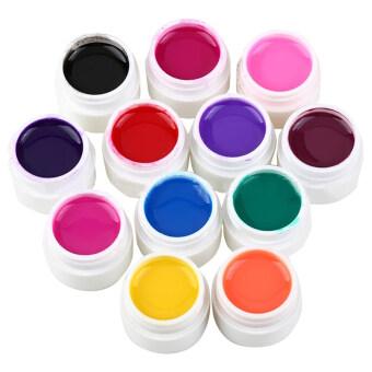 อยากขาย 12 Pure Colors UV Builder Solid UV Gel Set for Nail Art Tips RandomColor