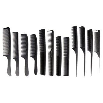 12PCS Combs Hairdressing Styling Hair Cutting Barber Stylist Tools Set(Black) - intl