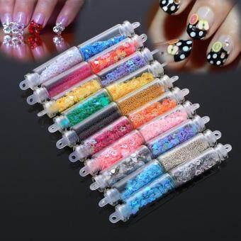 เปรียบเทียบราคา 20pcs Nail Art Sequins Mini Glass Bottle Vial Plastic GlitterStickers - intl