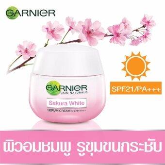 การ์นิเย่ สกิน แนทเชอรัลส์ ซากุระไวท์ เดย์ครีม พิงคิซ เรเดียนซ์ แอนด์ พอร์เลส เซรั่ม ครีม เอสพีเอฟ21/พีเอ+++ 50 มล. GARNIER SKIN NATURALS SAKURA WHITE PINKISH RADIANC& PORELESS SERUM CREAM SPF21/ PA+++ 50 ml (image 0)