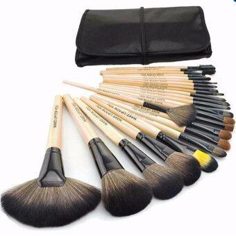 ราคา 24Pcs Brush Wooden Set with Bag Makeup Cosmetic Tool