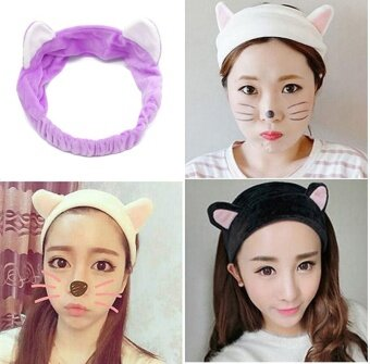 2PCS Women Headband Girls Cute Cat Ears Headband Lady Party Gift Hair Band Accessories- (Purple) - intl