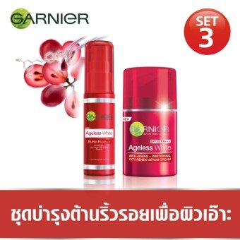 การ์นิเย่เอจเลสไวท์ ชุดบำรุงต้านริ้วรอยเพื่อผิวเอ๊าะ 3(ซิตี้รีนิว เอสพีเอฟ30/พีเอ+++ 50มล.+ ซูเปอร์เอสเซนท์ 30มล.)Garnier Ageless White Set for Younger Skin (CITY RENEW SPF 30/PA+++ 50ML.+ Super Essence 30ml)