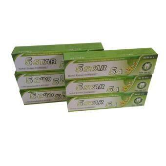 ยาสีฟันสมุนไพร 5ดาว5เอ 5star 5a แก้ปัญหา กลิ่นปาก ปวดฟัน เหงือกอักเสบ เสียวฟัน คราบบุหรี่ กาแฟ toothpaste herb 5Star5A x6