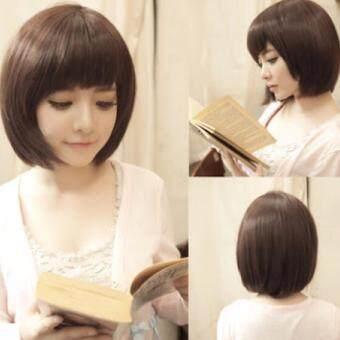 วิกผมสั้น-สีน้ำตาลธรรมชาติ (รหัส63674) cala wigs เส้นไหมทนความร้อนสูงจากเกาหลีอย่างดี100%