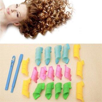 ราคา Ai Home Long Hair Curlers Magic Circle Plastic Big Wave Hair Roller 18 Pcs/Set M (Multicolor) - intl