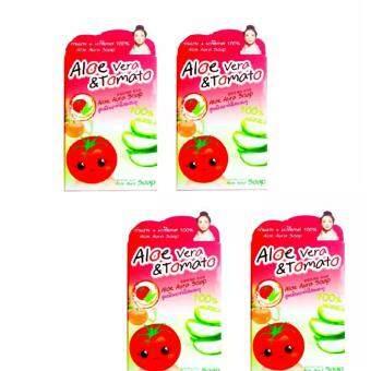 อยากขาย Aloe aura Soap สบู่มะเขือเทศอโลเวร่า สูตรผิวกระจ่างใส 80gX4