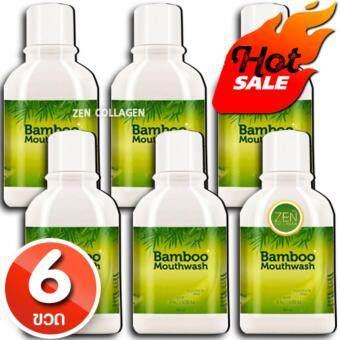 Bamboo Mouthwash น้ำยาบ้วนปาก แบมบูเม้าท์วอช ดูแลฟันขาว ขจัดคราบหินปูน หมดปัญหากลิ่นปาก เซ็ต 6ขวด (1 ขวด / 300 มิลลิลิตร)