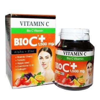 BIO C Vitamin Alpha+Zinc 1,500 mg. ไบโอ ซี วิตามิน ขนาด 30 เม็ด (1กล่อง) ...