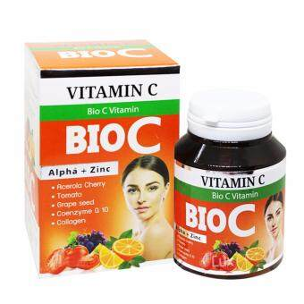 BIO C Vitamin Alpha+Zinc 1,500 mg. ไบโอ ซี วิตามิน ขนาด (30 เม็ดx1กล่อง)
