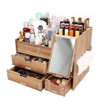 Cosmetic shelf ชั้นวางเครื่องสำอาง กล่องเก็บเครื่องสำอางแบบมีกระจกด้านข้าง สีไม้โอ๊ค