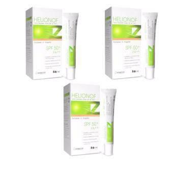 Dermcor Helionof Z Facial Sunsereen Cream SPF 50+ PA++ 15ml เฮลิโอนอฟ แซด ผลิตภัณฑ์ป้องกันแสงแดดสำหรับผิวหน้าสูตรพัฒนาสำหรับโรงพยาบาล และคลินิก ขนาด 15 ml/หลอด(3หลอด)