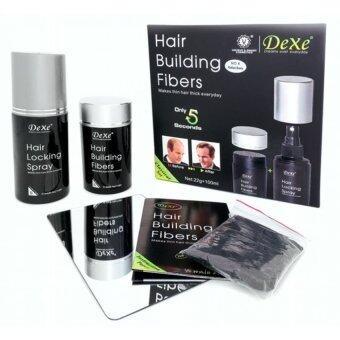 Dexe Hair Building Fiber Set ไฟเบอร์เพิ่มผม แก้ผมบาง Hair Building Fiber+Locking Spray (สีดำ)