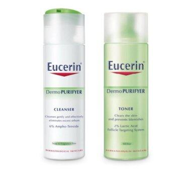 Harga Eucerin Dermo Purifyer Cleanser 200ml and Toner 200ml