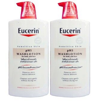 รีวิว Eucerin Sensitive Skin pH5 Washlotion For Body and Face 1000 ml (2ขวด)