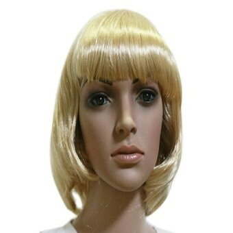 Fashion Cosplay Party Halloween Christmas Short Straight Hair WigsGolden