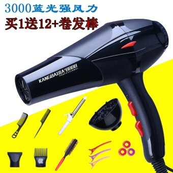 Hair dryer household power blower negative ion hair salon barber shop dormitory cold hot air blower mute - net3000 Blu ray strong wind buy a send 12+ curly stick - intl