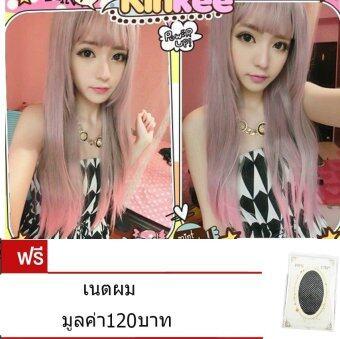 วิกผม Harajuku Lolita Pink เด่นน่ารัก แฟชั่นงานปาร์ตี้ ความยาว 75 cm.แถมฟรีเนตผม