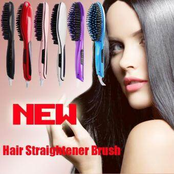 2560 Hight Quality Store New Automatic Electric Hair Straightener Purple Comb LCD Iron Brush Hair Massager Purple-Black_EU Plug