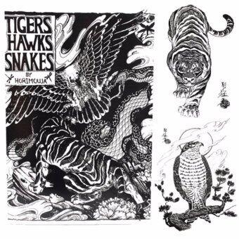 Horimouja หนังสือลายสักเสือ-เหยี่ยว-งู หนังสือสักลาย รูปลายสักสวยๆรูปรอยสักสวยๆ สักลายสวยๆ ภาพสักสวยๆ แบบลายสักเท่ๆ แบบรอยสักเท่ๆลายสักกราฟฟิก Tiger-Hawk-Snake TATTOO Manuscripts Flash Art DesignOutline Sketch Book(A4 SIZE)