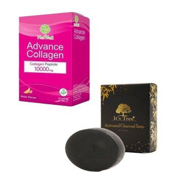 Harga Advance collagen10000mg (10 sachet) + It's tree Activated charcoal soap 50 grams (1 ชิ้น) (pink)