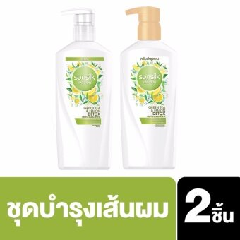 Harga SUNSILK NATURAL Shampoo Green Tea & Lemon Detox 450ml and SUNSILK NATURAL Hair Conditioner Green Tea & Lemon Detox 450ml